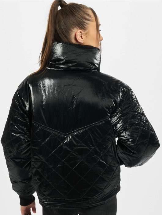 Urban Classics winterjas Ladies Vanish Oversized Diamond Quilt zwart