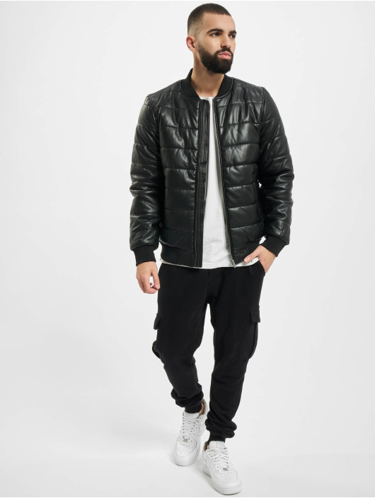 Urban Classics winterjas Faux Leather Bubble zwart