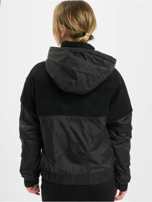 Urban Classics winterjas Ladies Sherpa Mix Pull Over zwart