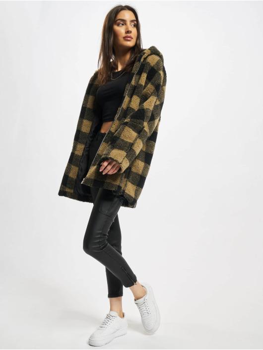 Urban Classics Zimní bundy Ladies Hooded Oversized Check hnědý