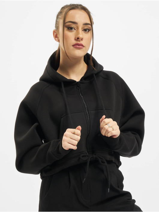 Urban Classics Zip Hoodie Ladies Oversized Short Raglan èierna