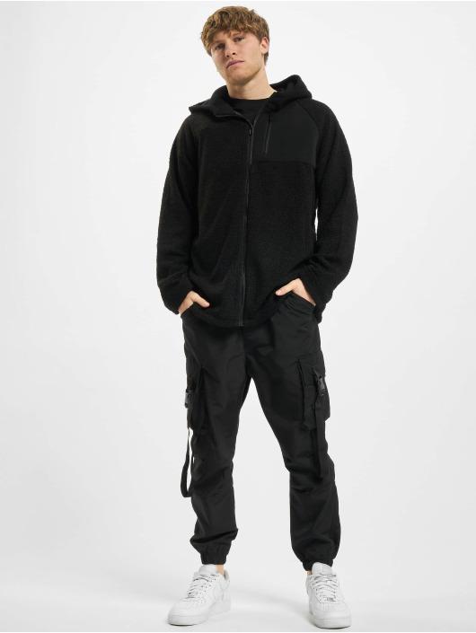 Urban Classics Zip Hoodie Hooded Sherpa èierna