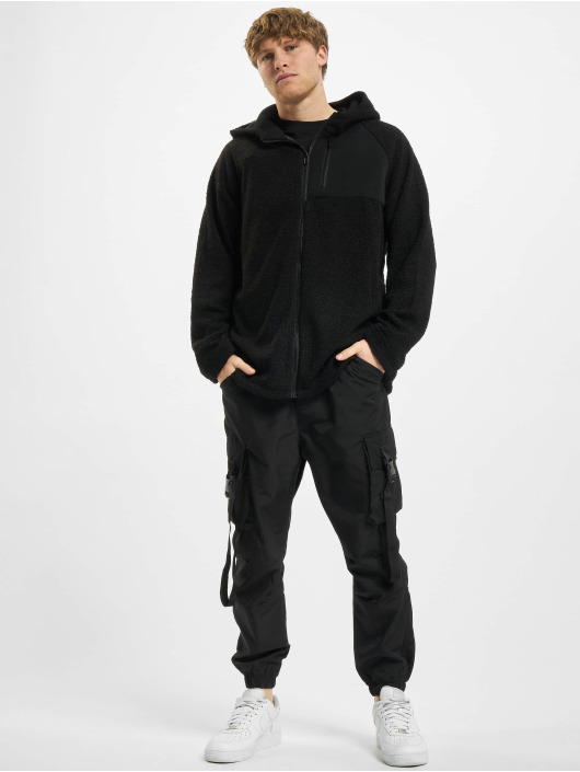 Urban Classics Zip Hoodie Hooded Sherpa čern