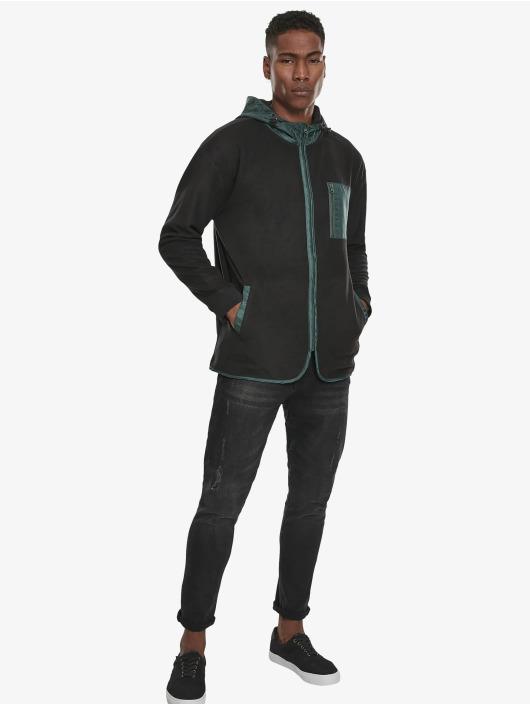 Urban Classics Zip Hoodie Contrast Polar Fleece čern