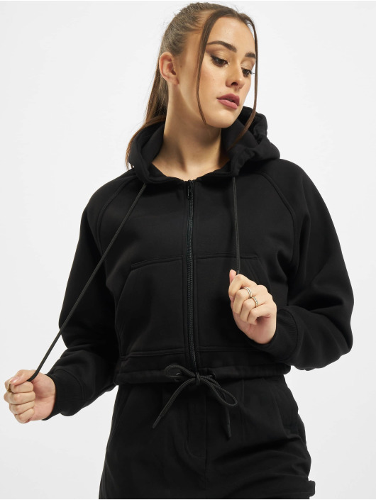 Urban Classics Zip Hoodie Ladies Oversized Short Raglan čern