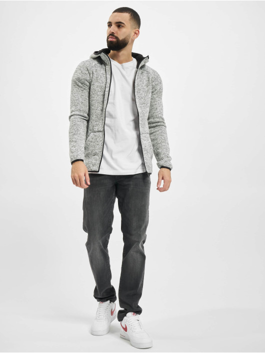 Urban Classics Zip Hoodie Knit Fleece šedá
