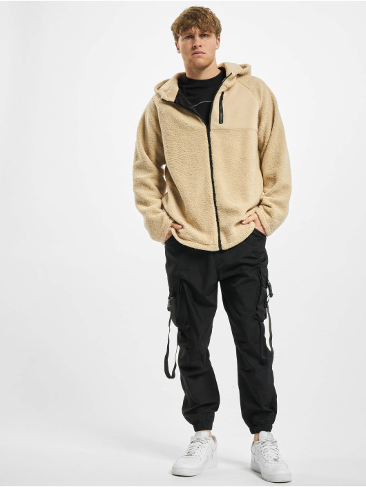 Urban Classics Zip Hoodie Hooded Sherpa béžová
