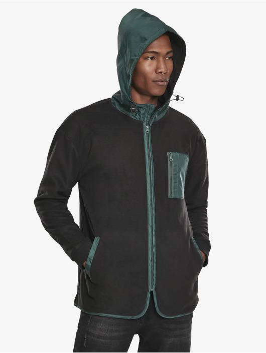Urban Classics Zip Hoodie Contrast Polar Fleece czarny