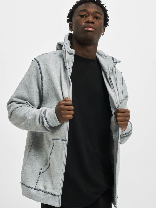Urban Classics Zip Hoodie Organic Contrast Flatlock Stitched grå