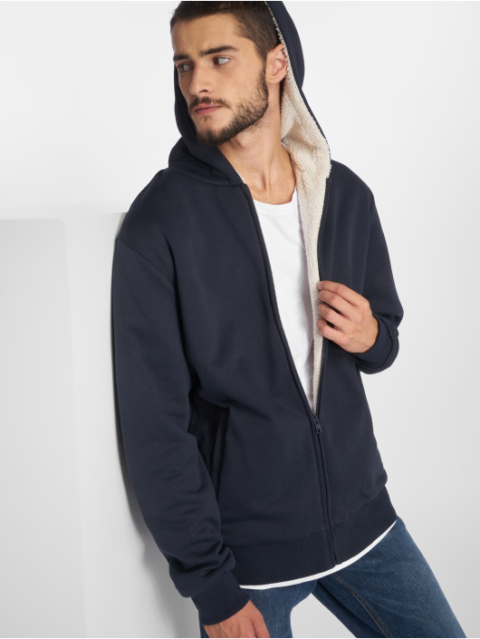 Urban Classics Zip Hoodie Sherpa Lined modrá