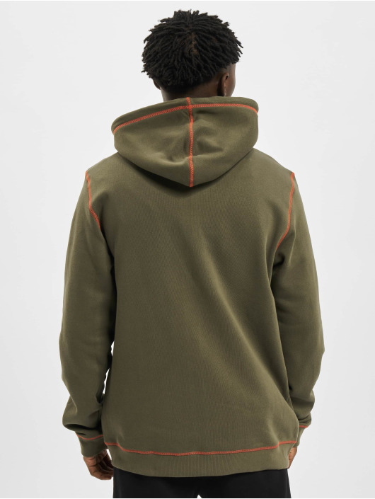 Urban Classics Zip Hoodie Organic Contrast Flatlock Stitched oliv
