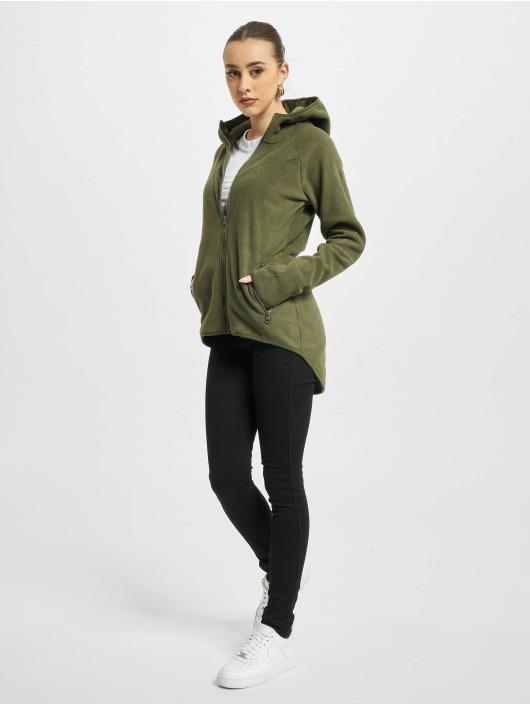 Urban Classics Zip Hoodie Polar Fleece olivová