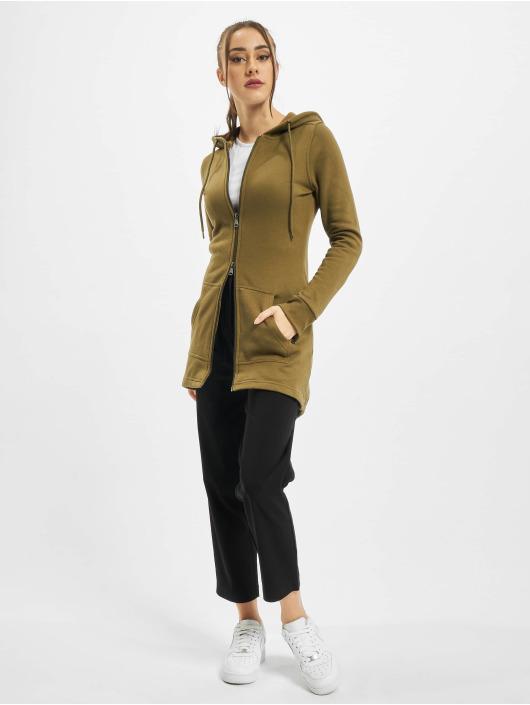 Urban Classics Zip Hoodie Ladies Sweat Parka olivová