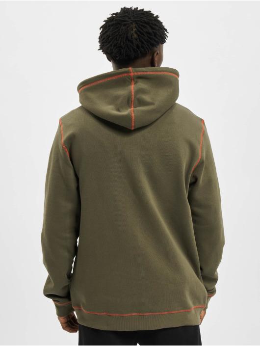 Urban Classics Zip Hoodie Organic Contrast Flatlock Stitched olivový