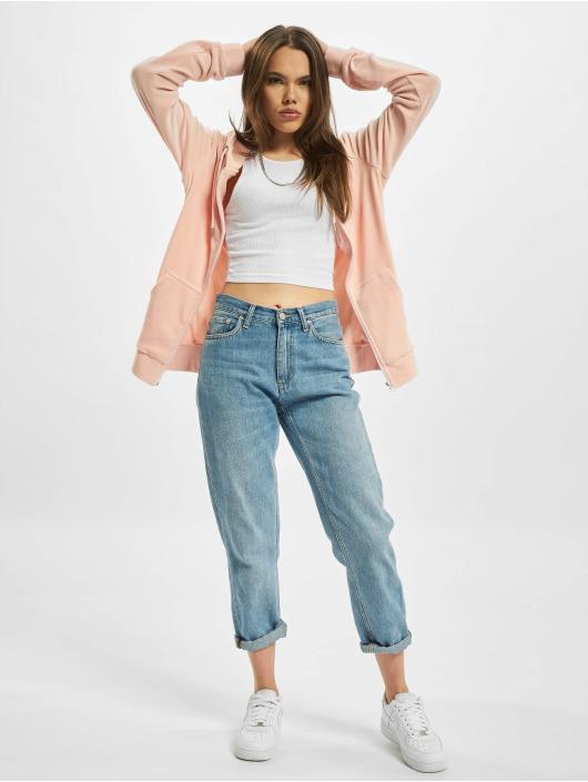 Urban Classics Zip Hoodie Ladies Velvet rosa