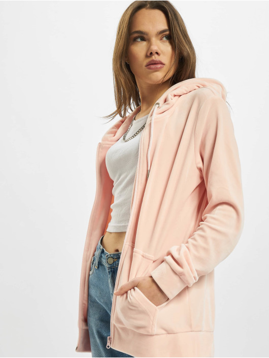 Urban Classics Zip Hoodie Ladies Velvet rose