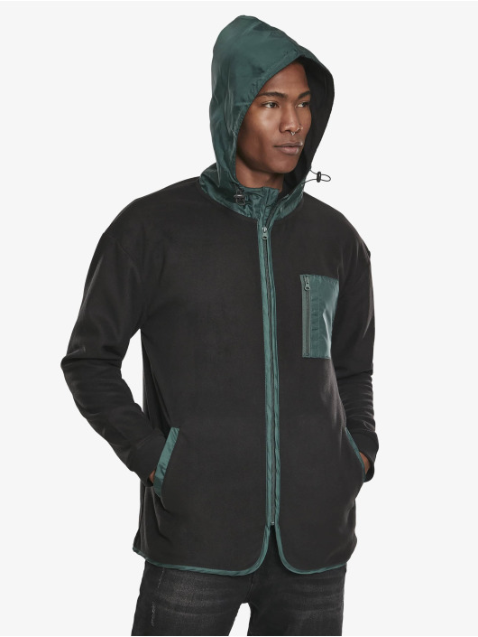 Urban Classics Zip Hoodie Contrast Polar Fleece sort