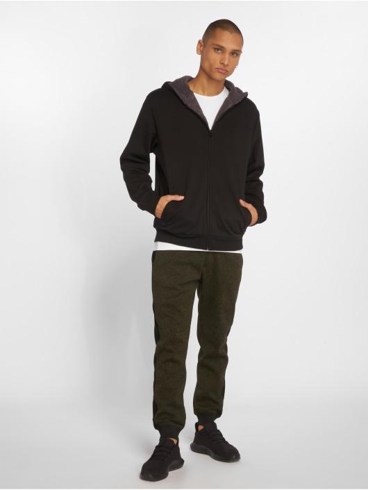 Urban Classics Zip Hoodie Sherpa Lined svart