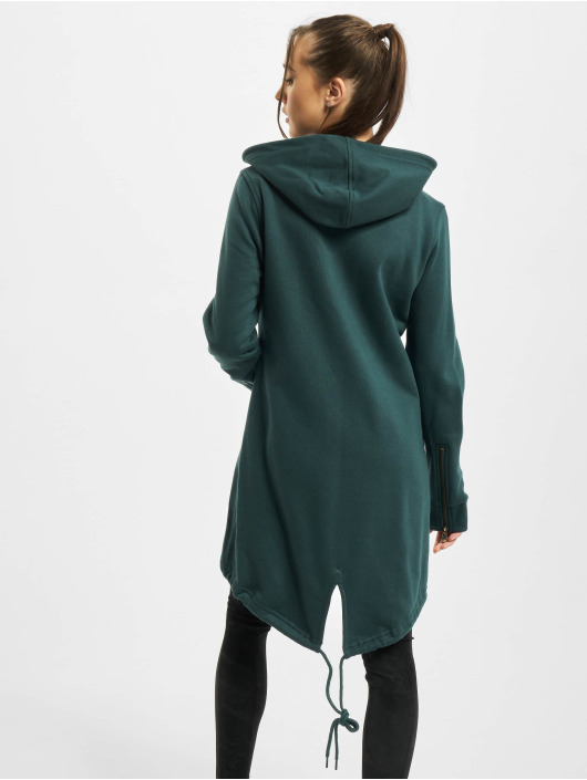Urban Classics Zip Hoodie Ladies Sweat Parka zelená