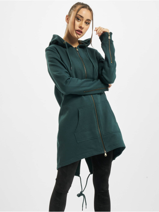 Urban Classics Zip Hoodie Ladies Sweat Parka zielony