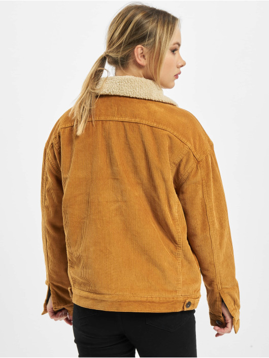Urban Classics Zomerjas Ladies Oversize Sherpa Corduroy bruin
