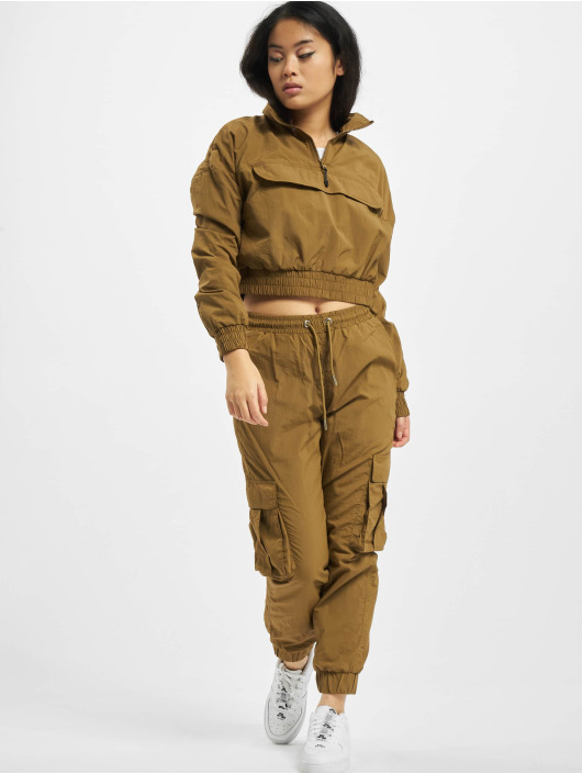 Urban Classics Zomerjas Ladies Cropped Crinkle Nylon Pull Over bruin