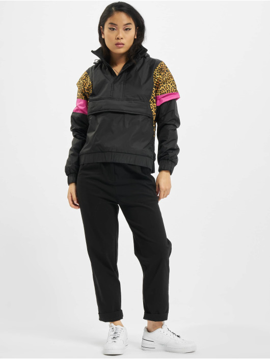 Urban Classics Zomerjas Ladies AOP Mixed Pull Over zwart