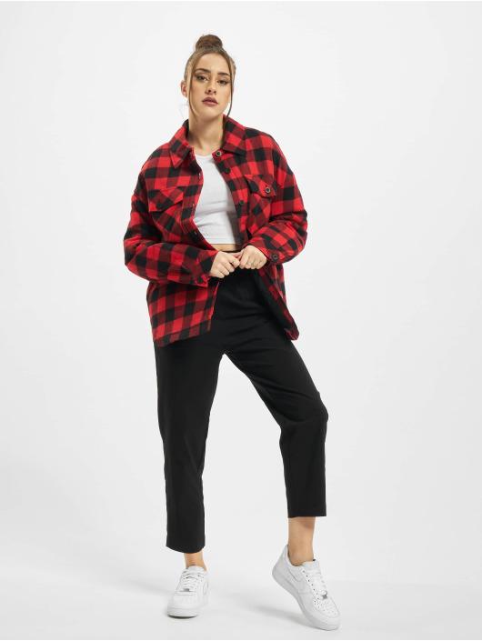 Urban Classics Zomerjas Ladies Flanell Padded Overshirt zwart