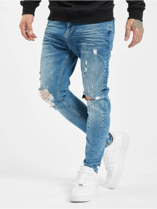 VSCT Clubwear Облегающие джинсы Thor Knee Cut Slim Fit синий