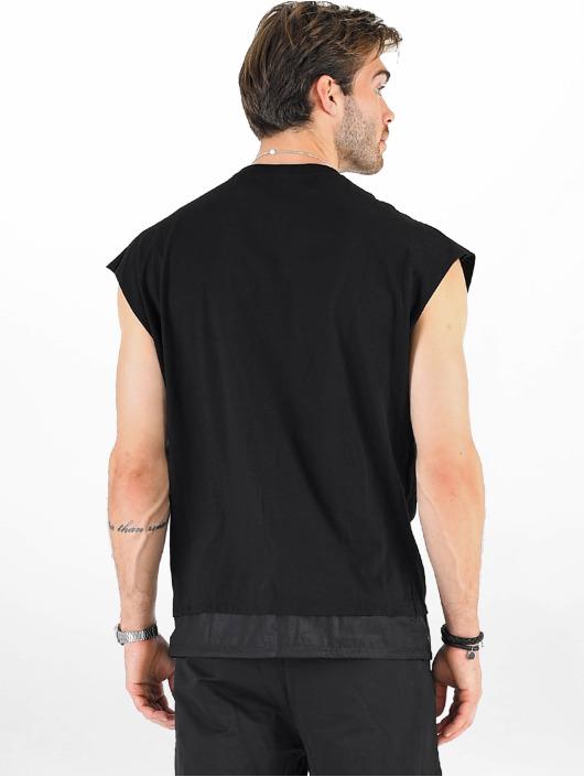 VSCT Clubwear Camiseta Luxury Double Hem Laces Sleeveless negro