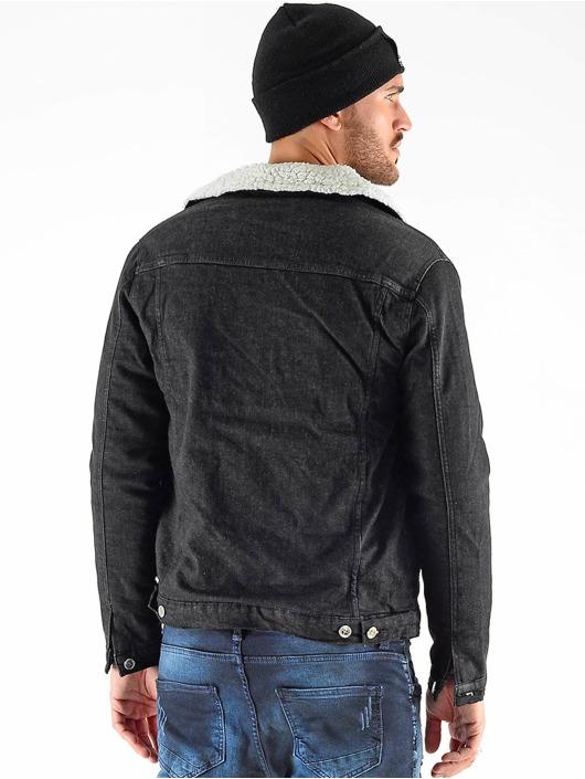 VSCT Clubwear Denim Jacket Denim Trucker Sheepcoll black