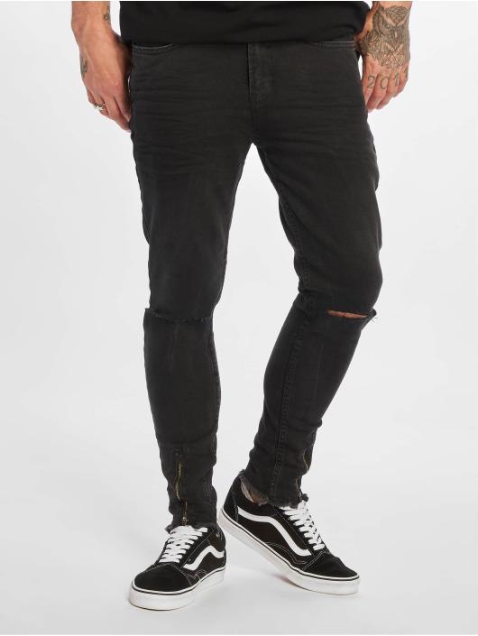 VSCT Clubwear dżinsy przylegające Keanu Leg Zip czarny