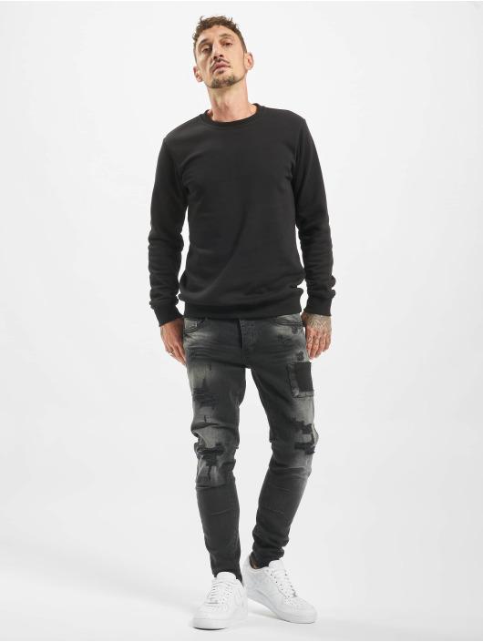 VSCT Clubwear dżinsy przylegające Keanu Open Zip czarny