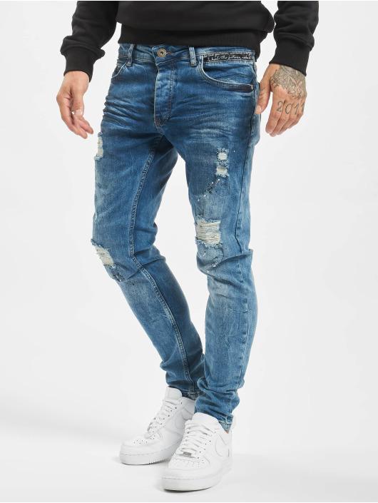 VSCT Clubwear dżinsy przylegające Thor Slim Splattered niebieski