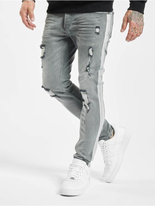 VSCT Clubwear dżinsy przylegające Knox Handpaint Stripe szary