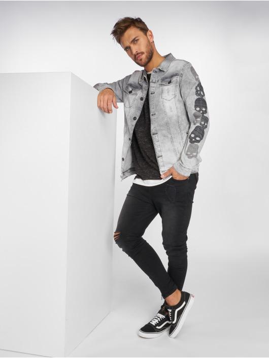 VSCT Clubwear Jean Bundy Skull Sleeve Muscle Fit šedá