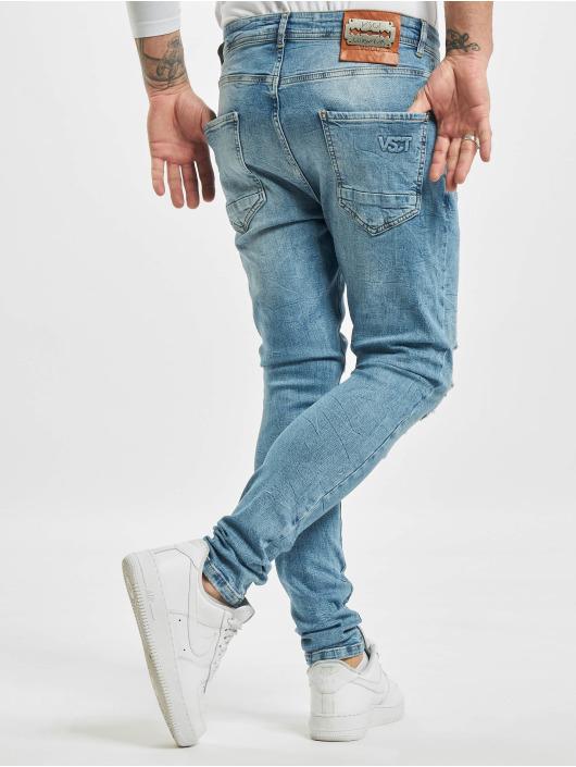 VSCT Clubwear Jean carotte antifit Thor Slim 5 Pocket Destroyed bleu