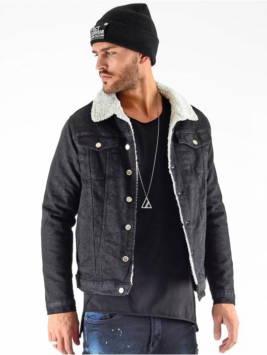 VSCT Clubwear Jean Jakker Denim Trucker Sheepcoll svart