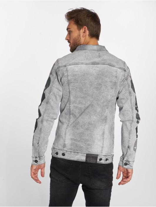 VSCT Clubwear Kurtka Dzinsowa Skull Sleeve Muscle Fit szary