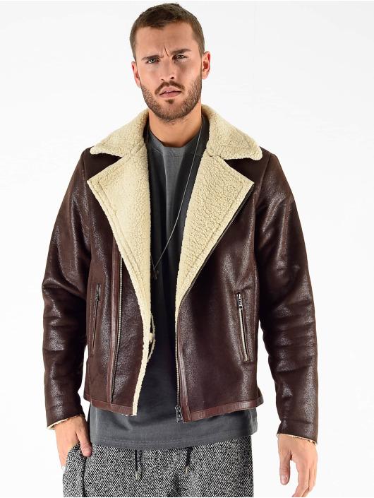 VSCT Clubwear Kurtki zimowe VSCT Clubwear Sheepskin Biker Jacket brazowy