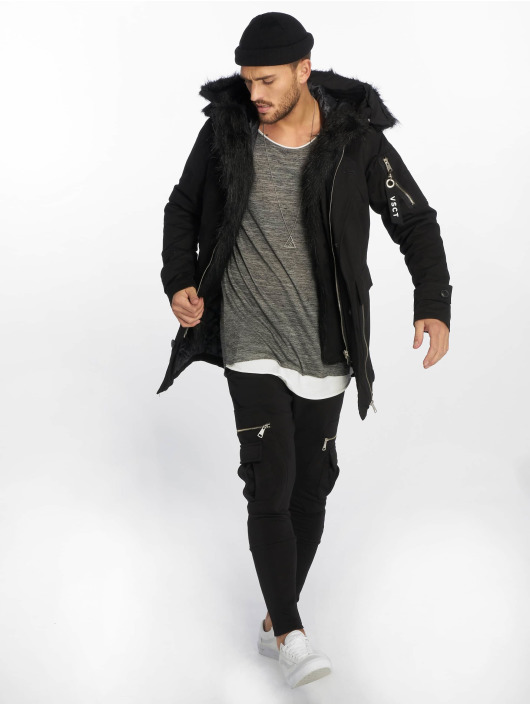 VSCT Clubwear Kurtki zimowe Zip Decor czarny