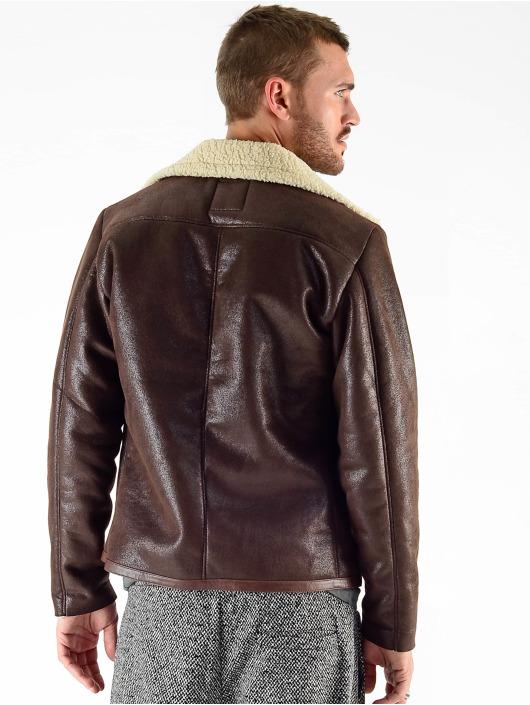 VSCT Clubwear Manteau hiver VSCT Clubwear Sheepskin Biker Jacket brun
