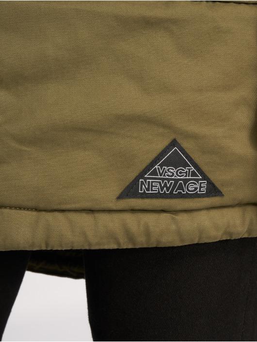 VSCT Clubwear Manteau hiver Leatherlook Sleeves kaki