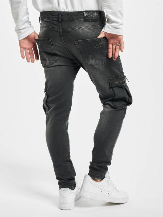 VSCT Clubwear Skinny Jeans Knox Biker Cargo black