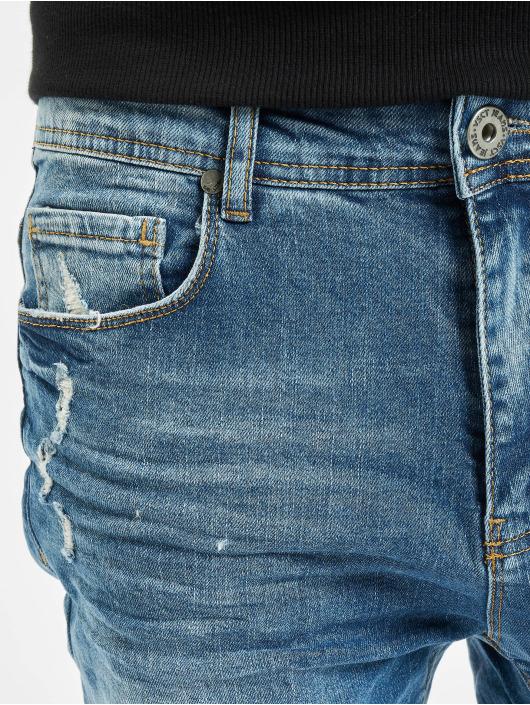 VSCT Clubwear Skinny Jeans Thor Knee Cut Slim Fit modrý