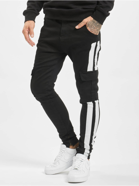 VSCT Clubwear Slim Fit Jeans Keanu Mega Stripe èierna