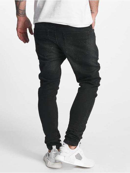 VSCT Clubwear Slim Fit Jeans Thor Slim 7 Pocket Denim with Zips черный