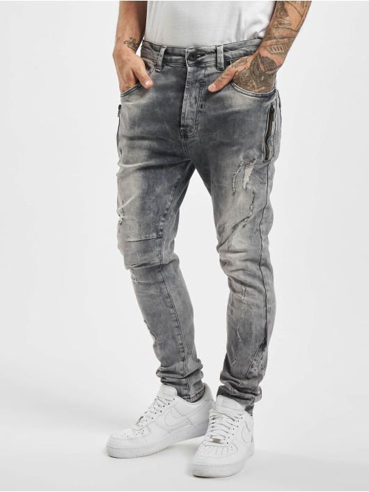 VSCT Clubwear Slim Fit Jeans Thor Slim 7P With Zips grå