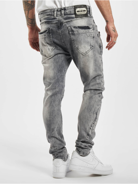 VSCT Clubwear Slim Fit Jeans Thor Slim 7P With Zips grijs