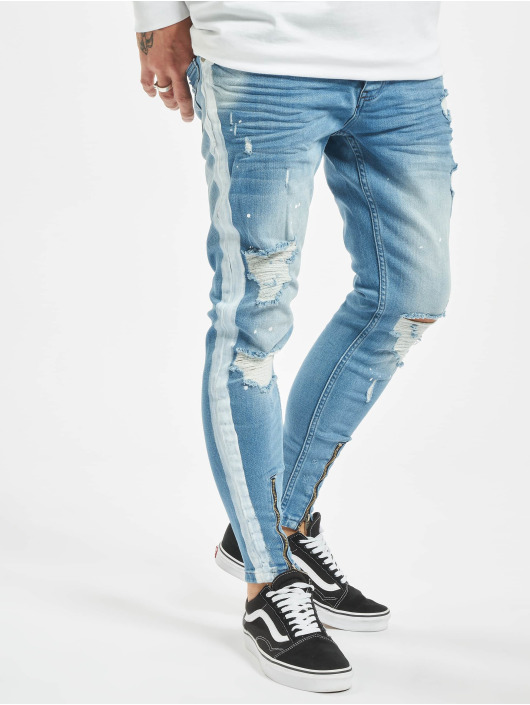 VSCT Clubwear Slim Fit Jeans Thor Stripe Track Denim modrý